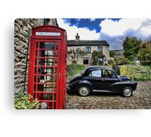 Phonebox and Morris Minor, Low Row Canvas Print
