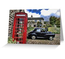 Phonebox and Morris Minor, Low Row Greeting Card
