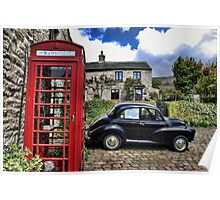 Phonebox and Morris Minor, Low Row Poster