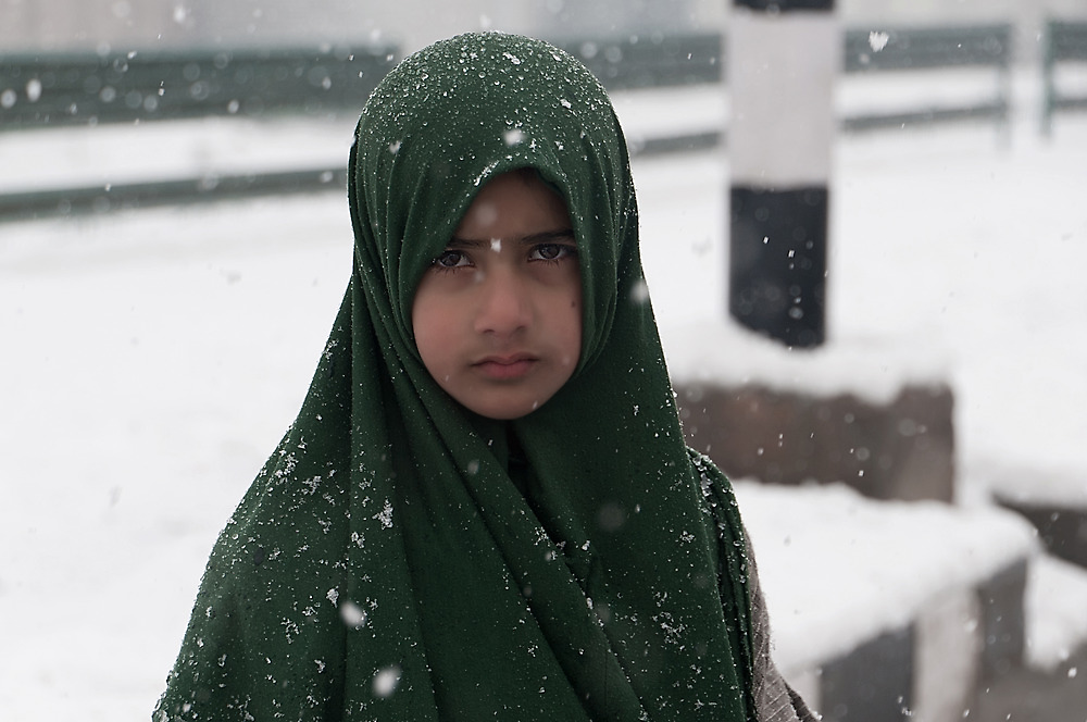 Young Boy and the Snowstorm by Mukesh Srivastava