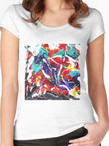 Colorful Abstract Design  Women's Fitted Scoop T-Shirt