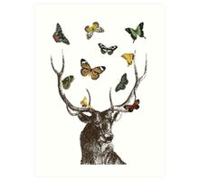 The Stag & Butterflies Art Print