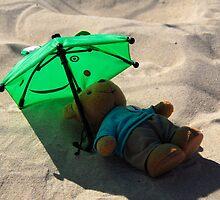 Sun bathing teddy bear. by sandyprints