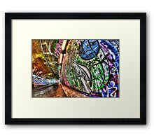 Graffiti tunnel, London Waterloo Framed Print