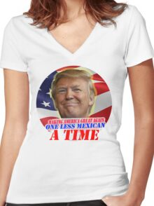 Trump One Less Mexican a Time Women's Fitted V-Neck T-Shirt