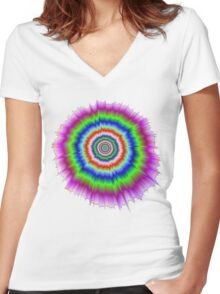 Color Explosion Women's Fitted V-Neck T-Shirt