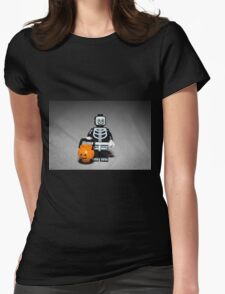 Skeleton Guy with Pumpkin Pail Womens Fitted T-Shirt