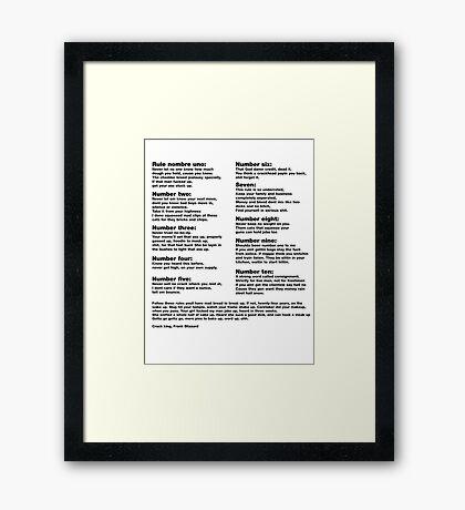 10 Crack commandments   Framed Print
