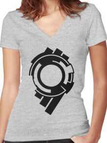 Section 9 (black print) Women's Fitted V-Neck T-Shirt