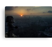 Lego Stormtrooper X Sunset in Roppongi Canvas Print