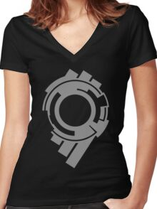 Section 9 (grey print) Women's Fitted V-Neck T-Shirt