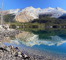 Morning reflection at Maligne lake in Jasper National park by Pierre Leclerc