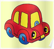 Red toy little car Poster