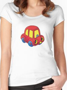 Red toy little car Women's Fitted Scoop T-Shirt