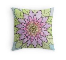 Flower mandala watercolor and pen Throw Pillow