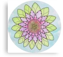 Flower mandala watercolor and pen Canvas Print