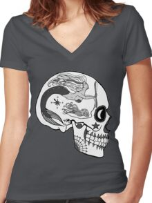 Aviation Mechanic - Day of the Dead Black and White Women's Fitted V-Neck T-Shirt