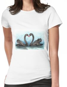 Black Swan Pair Womens Fitted T-Shirt