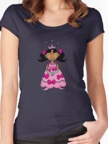 Little princess girl in pink dress Women's Fitted Scoop T-Shirt