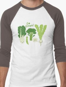 Go Green! (Leafy Green!) Men's Baseball ¾ T-Shirt