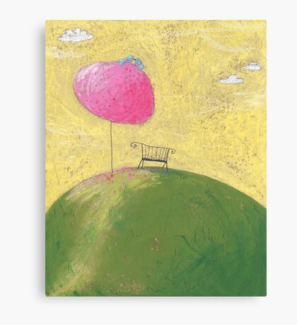 The bench under the cherry tree Canvas Print