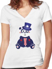 Patriotic Panda Women's Fitted V-Neck T-Shirt