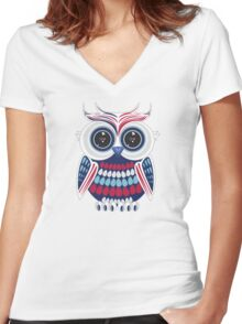 Patriotic Owl Women's Fitted V-Neck T-Shirt