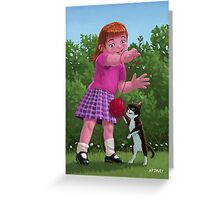 cat and girl playing Greeting Card