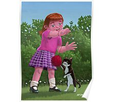 cat and girl playing Poster