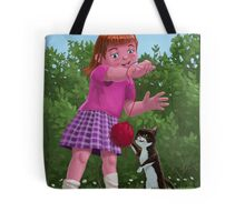 cat and girl playing Tote Bag