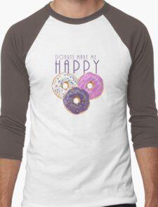 Donuts Make Me Happy Men's Baseball ¾ T-Shirt