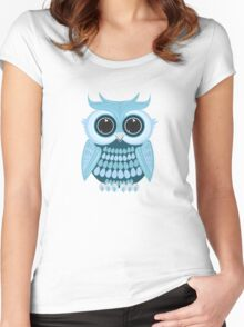 Baby Blue Owl Women's Fitted Scoop T-Shirt