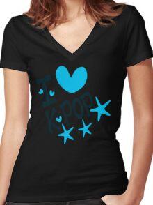 I loveKPOP txt hearts stars vector graphic art  Women's Fitted V-Neck T-Shirt