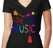 LOVE ROCK MUSIC  Women's Fitted V-Neck T-Shirt