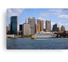 cruise ship moored in sydney harbour Canvas Print