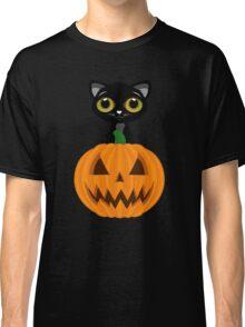 Black Kitten & Jack O Lantern Classic T-Shirt