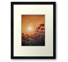 Red Poppy Field Sunset Framed Print