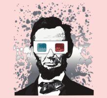 Abraham Lincoln - 3D (2) (Black) Kids Tee
