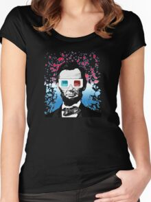 Abraham Lincoln - 3D (Black) Women's Fitted Scoop T-Shirt
