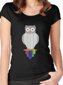 Rainbow Owl (black) Women's Fitted Scoop T-Shirt