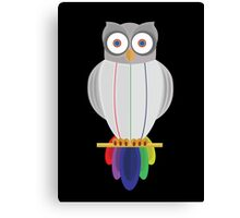 Rainbow Owl (black) Canvas Print