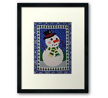 Snowman Enjoying the Snowy Night Framed Print