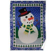 Snowman Enjoying the Snowy Night Poster