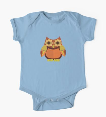 Harvest Owl - Red Orange 2 One Piece - Short Sleeve