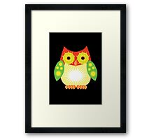 Star Owl - Red Yellow Green 2 Framed Print