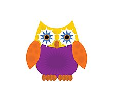 Star Owl - Yellow Orange Purple Photographic Print