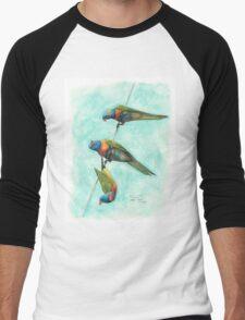 Rainbow Lorikeets on Wire Men's Baseball ¾ T-Shirt