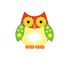 Star Owl - Red Yellow Green Photographic Print
