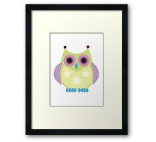 Star Owl - Green Purple Blue Framed Print