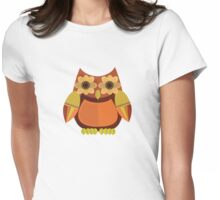 Harvest Owl - Red Orange Womens Fitted T-Shirt